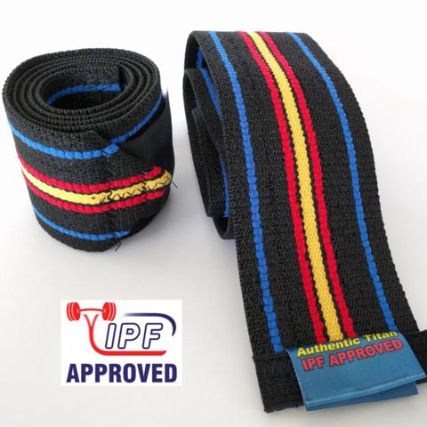 Купить коленные бинты TITAN THP Knee Wraps для пауэрлифтига и приседаний со штангой разрешенные в IPF