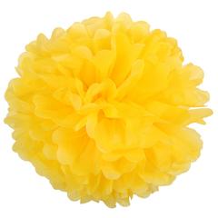 Помпон из бумаги 30 см, ярко-желтый