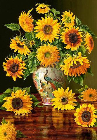 Картина раскраска по номерам 30x40 Большой букет подсолнухов