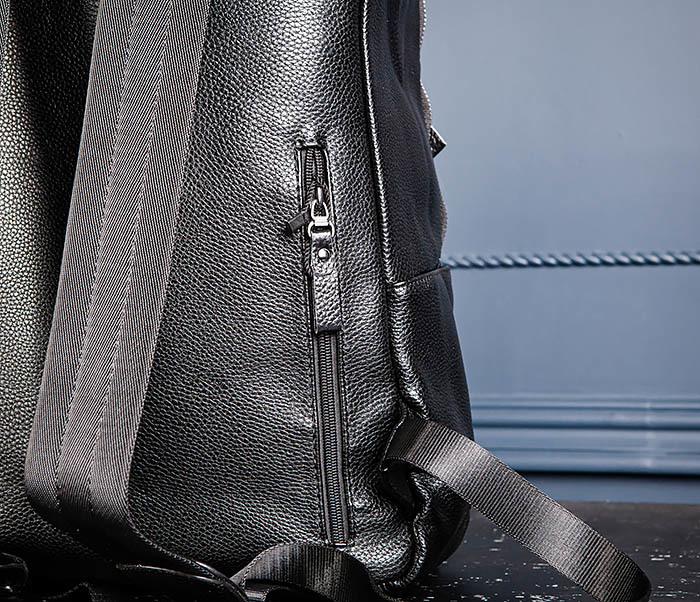 BAG530-1 Большой кожаный рюкзак черного цвета фото 09