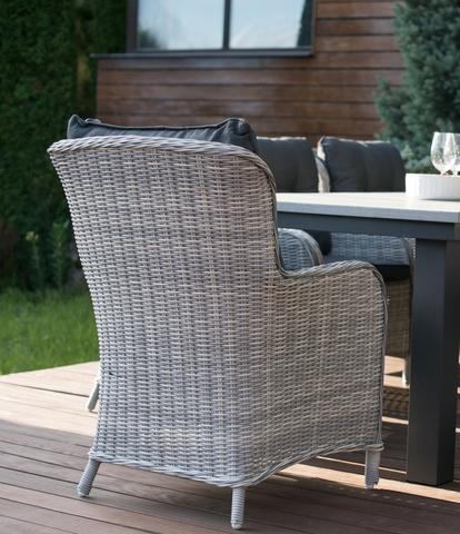 Кресло «Бергамо» из искусственного ротанга, цвет светло-серый, коричневый