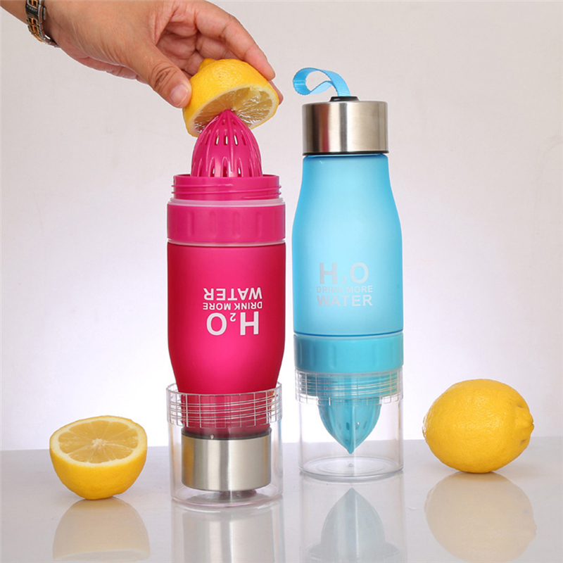 Бутылка с соковыжималкой H2O голубая
