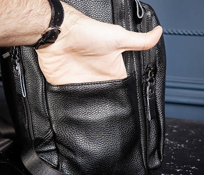 BAG530-1 Большой кожаный рюкзак черного цвета фото 10