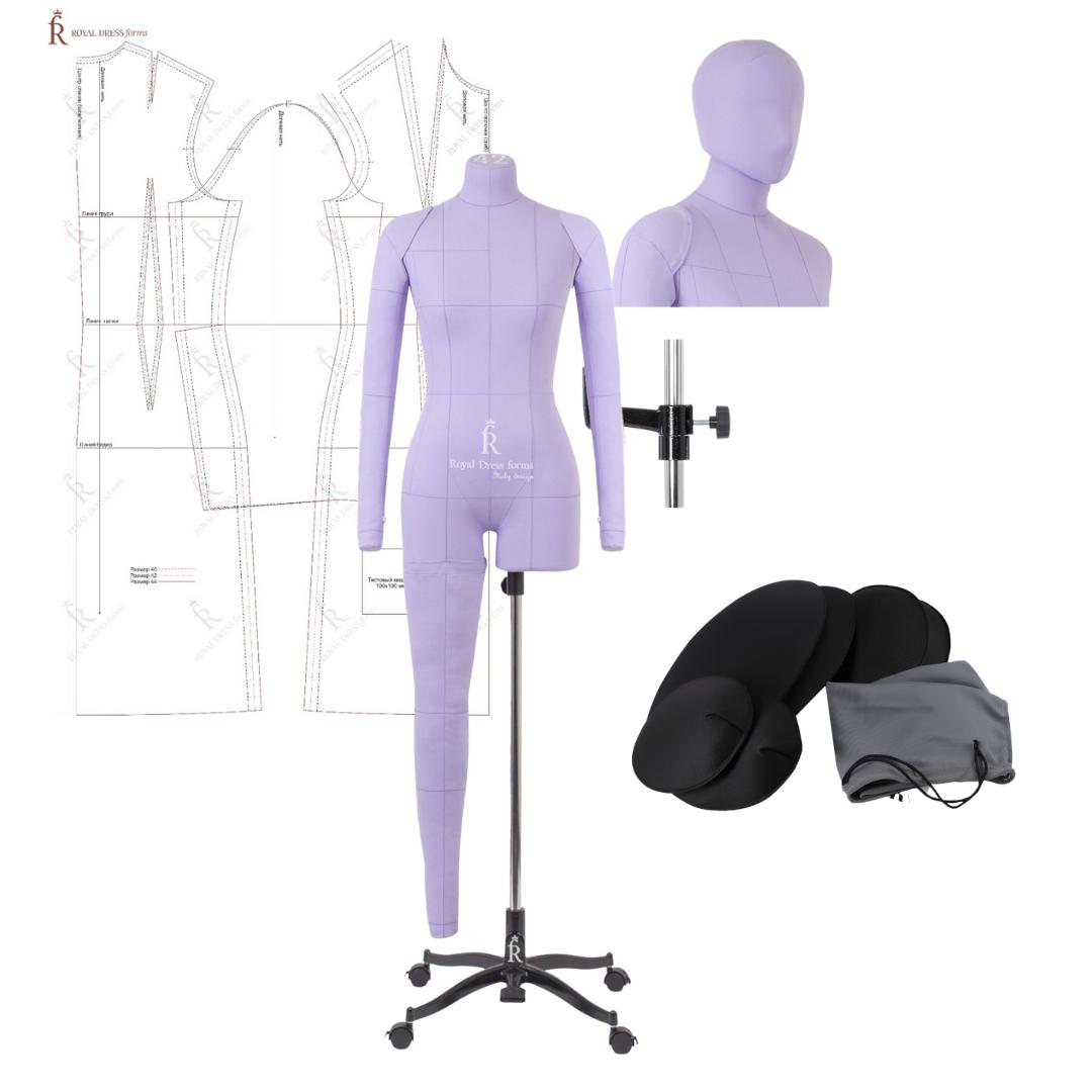 Манекен портновский Моника, комплект Арт, тип фигуры песочные часы, размер 44, цвет сиреневый, в комплекте накладки, руки, нога и голова