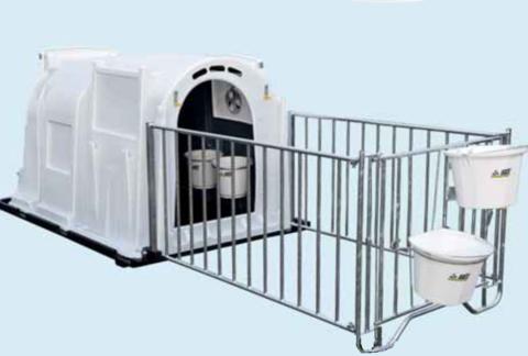 Без пола | Домик для телят XXL 210х135х130 см, с ограждением и аксессуарами в комплекте, 2-х слойный