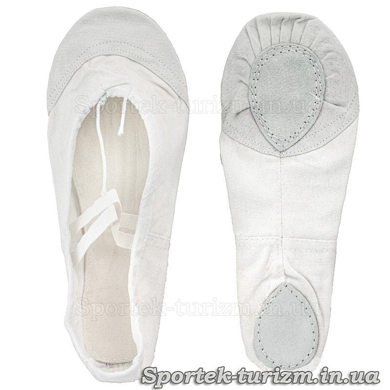 Белые тканевые балетки