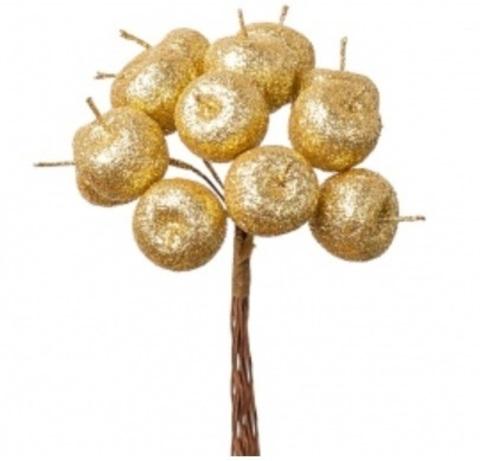 Набор яблок с глиттером на вставках 12шт., размер: D2,2xL10,5см, цвет: золотой