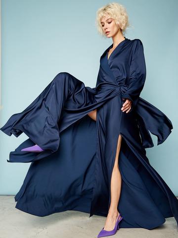 Платье на запах из вискозы темно-синий