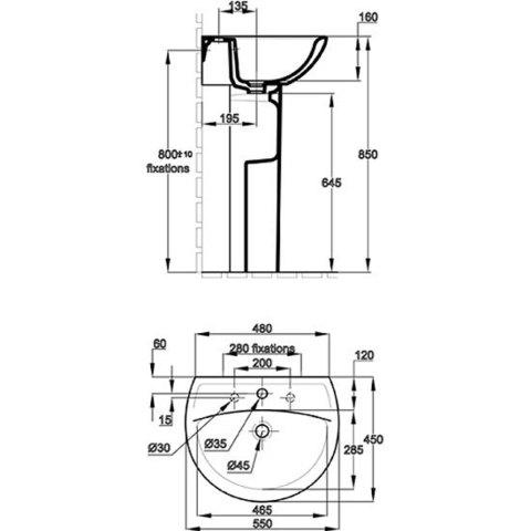 Раковина Jacob Delafon Patio  55х45 см  E4158G схема