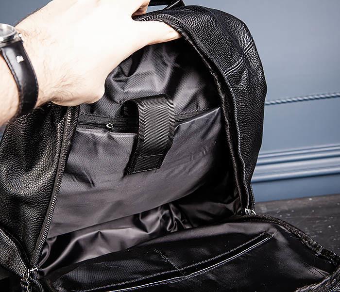 BAG530-1 Большой кожаный рюкзак черного цвета фото 13