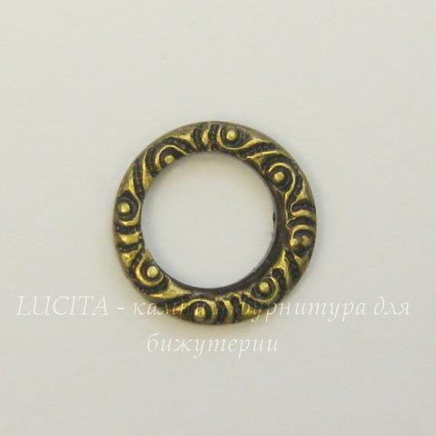 Винтажный декоративный элемент - коннектор Кольцо 10 мм (оксид латуни)