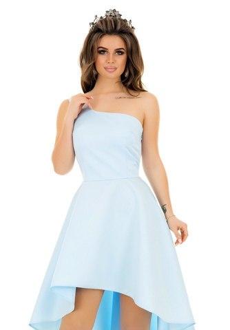 Асимметричное атласное платье на одно плечо, голубого цвета 3