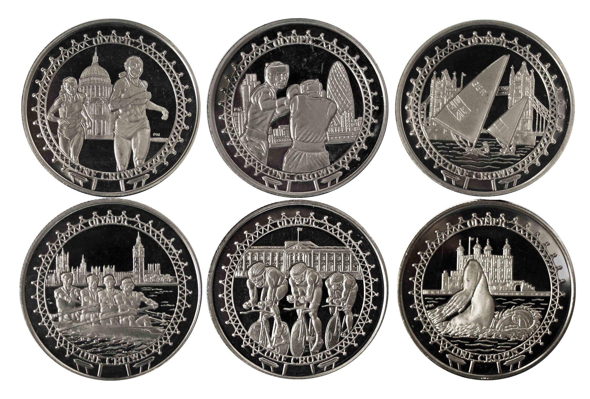 """""""Олимпийские игры"""" - набор из 6 монет 1 крона 2010 г. Остров Мэн"""