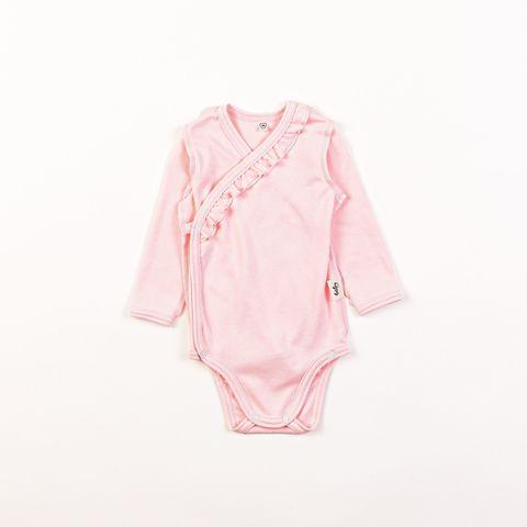 Ruffled kimono long-sleeved bodysuit 0+, Light Pink