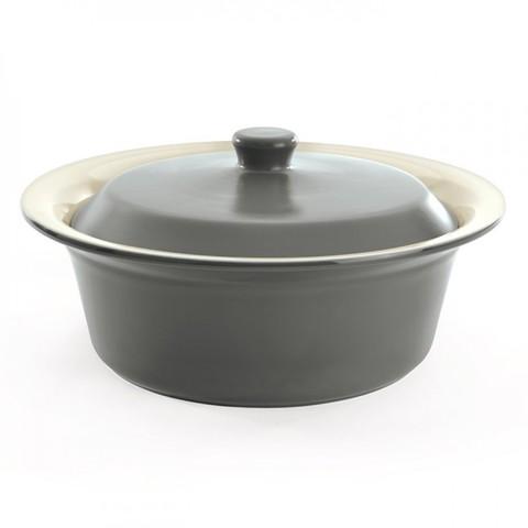 Круглое блюдо для выпечки 30см серый , керамическое