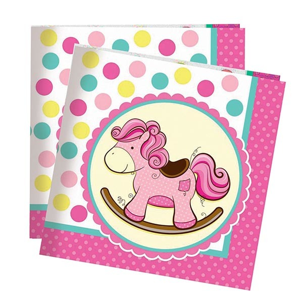 Салфетки Лошадка Малышка розовая 33см X 33см 20шт
