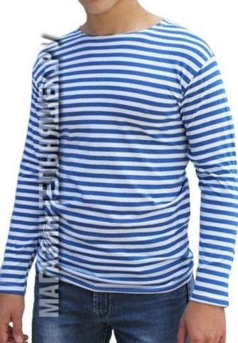 Купить недорого тельняшку с начесом с голубой полосой - Магазин тельняшек.ру 8-800-700-93-18НАЧЕС Тельняшка футер 220 гр/м ВДВ (голубая полоса) 100% хлопок в Магазине тельняшек