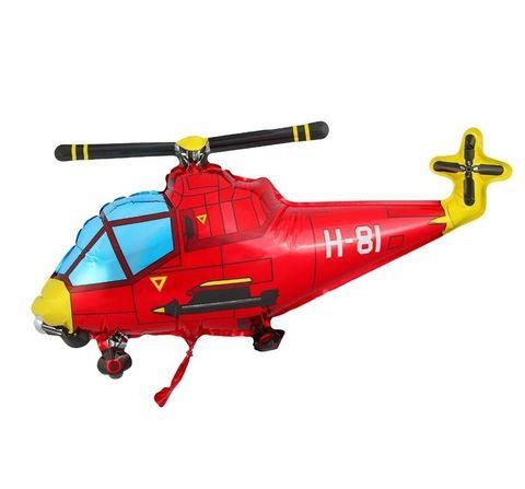 Фольгированный шар Вертолет красный