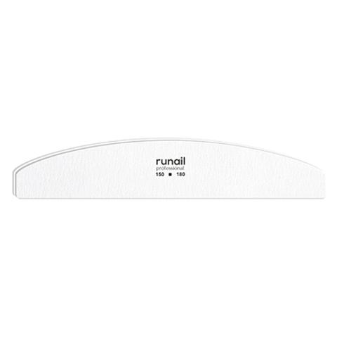 RuNail Профессиональная пилка для искусственных ногтей (белая, полукруглая, 150/180)