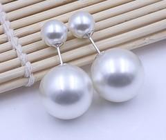 Серьги-пусеты из серебра двойные шары в стиле DIOR