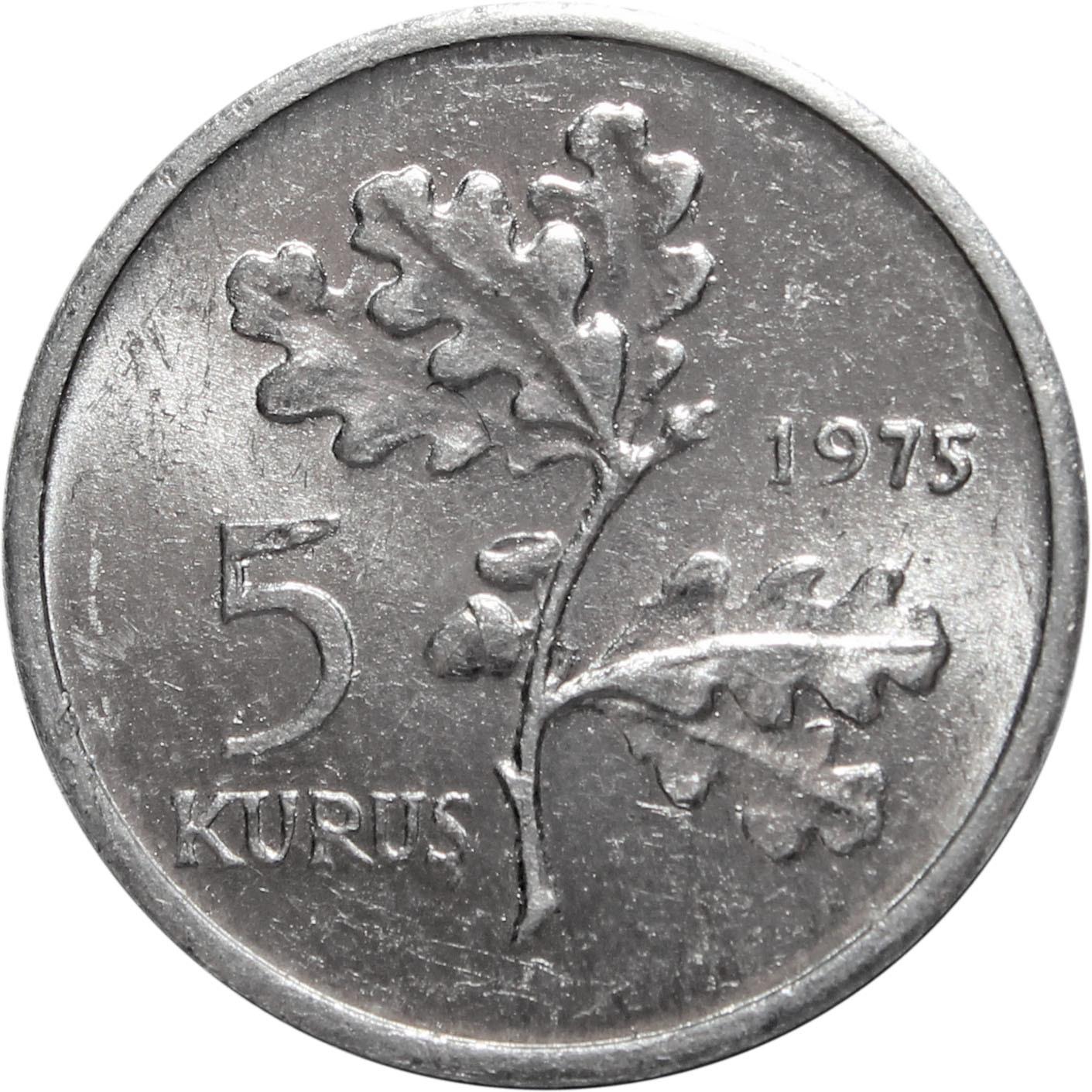 5 курушей. Турция. 1975 год. UNC