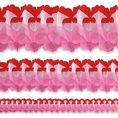 Гирлянда Декор 3,6м красно-бело-розовая