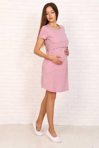 Мамаландия. Сорочка для беременных и кормящих с горизонтальным секретом, пудровый/звезды