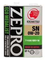 Синтетическое моторное масло IDEMITSU Zepro Eco Medalist 0W-20, 4 л