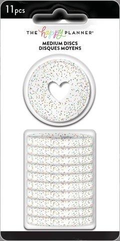 Диски- крепежный механизм для ежедневника Medium Plastic Discs - Clear Rainbow Glitter- 3.3 см