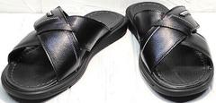Летние сандали шлепанцы кожаные мужские Brionis 155LB-7286 Leather Black.