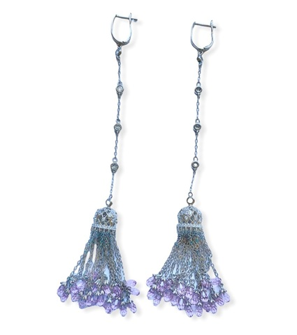 4634 - Серьги длинные из серебра с подвесками кисточками с розовыми цирконами огранки бриолет