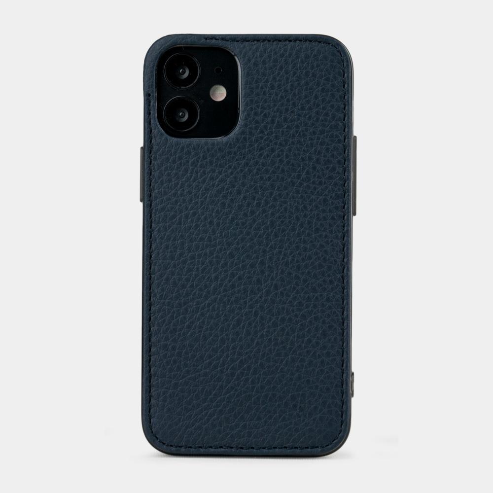 Чехол-накладка для iPhone 12 Mini из натуральной кожи теленка, цвета синий мат