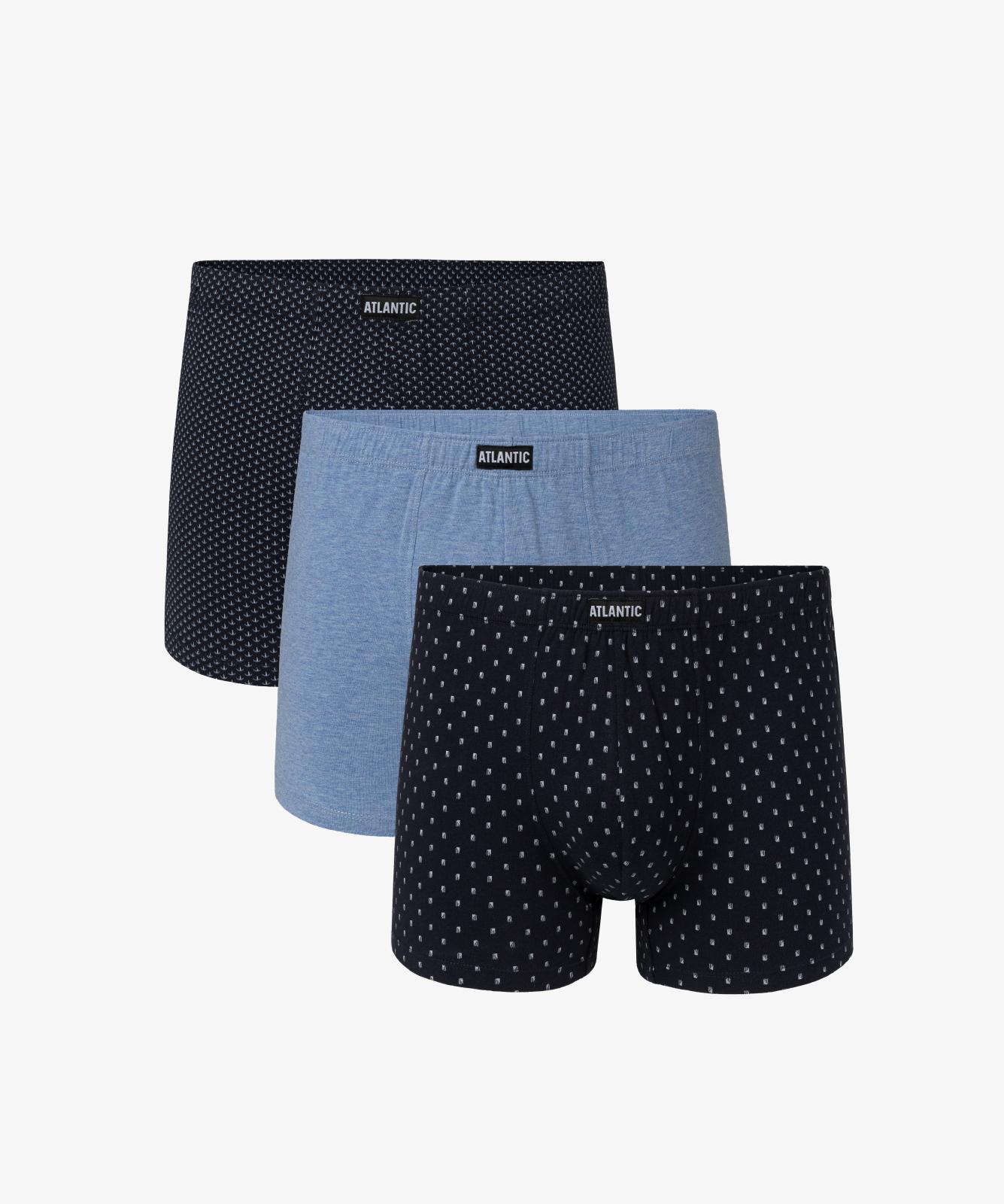 Мужские трусы шорты Atlantic, набор из 3 шт., хлопок, темно-синие + голубой меланж, 3MH-028