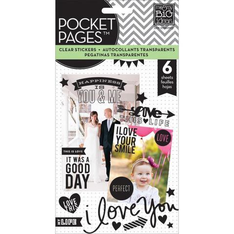 Стикеры на прозрачном пластике Me & My Big Ideas Pocket Pages Clear Stickers 6 Sheets -Love