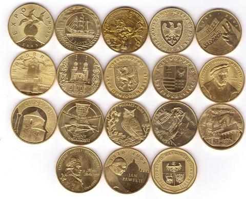 Набор из 18 монет номиналом 2 злотых. Годовой набор. 2005 год, Польша. UNC