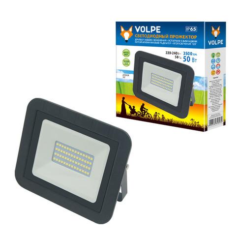 ULF-Q511 50W/DW IP65 220-240В BLACK Прожектор светодиодный. Дневной свет (6500K). Корпус черный. TM Volpe.