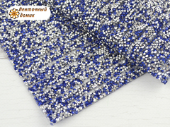 Полоса со стразами на силиконовой основе синее серебро