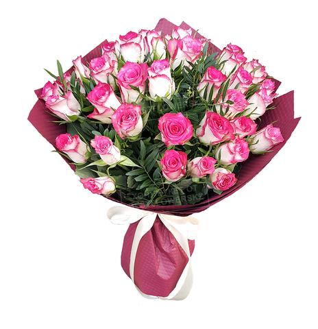 Букет из 39 роз малиновый
