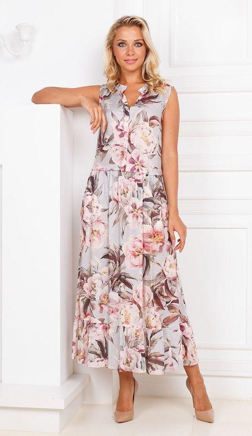 Платье З289-360 - Летнее платье из нежнейшей, струящейся вискозы. Одев однажды, вы не захотите его снимать. Свободный крой и натуральная ткань придают комфорт, позволяя телу дышать. Цветочный принт- тренд этого сезона. В этом платье, в любой ситуации, вы будете чувствовать себя в центре внимания.