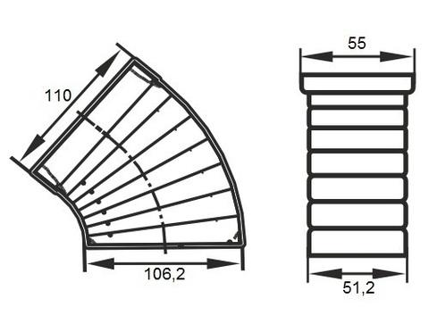 Колено разноугловое 110х55