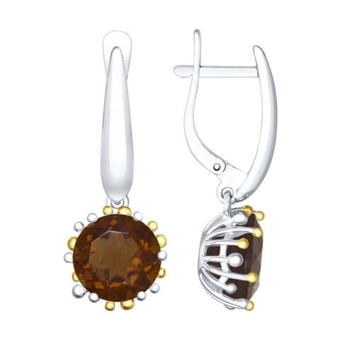 92021901 - Серебряные серьги с раух-топазами