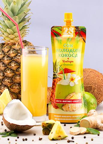 Сок молодого кокоса + Имбирь + Ананас, без сахара, 250 г