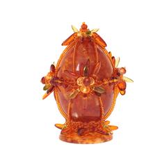 Сувенирное Пасхальное яйцо (натуральный янтарь, бисер), малое, АВ-0748