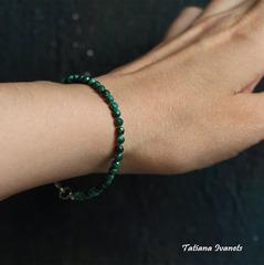 Тонкий браслет из малахита
