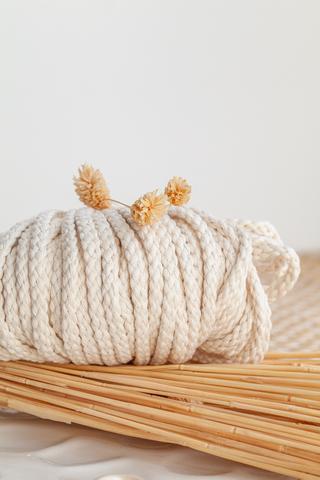 Хлопковый плетеный шнур экрю 4 и 5 мм