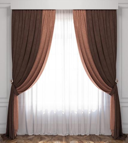 Комплект штор и тюль Ламанш коричневый-венге