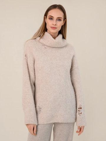 Женский свитер бежевого цвета из шерсти - фото 2