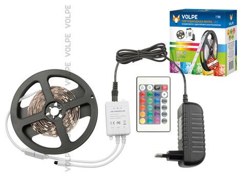 ULS-Q211 5050-30LED/m-IP20-3M-RGB RRP24C24 Комплект светодиодной ленты 3м. IP20. RGB. Адаптер 24Вт. Контроллер с пультом. TM Volpe.