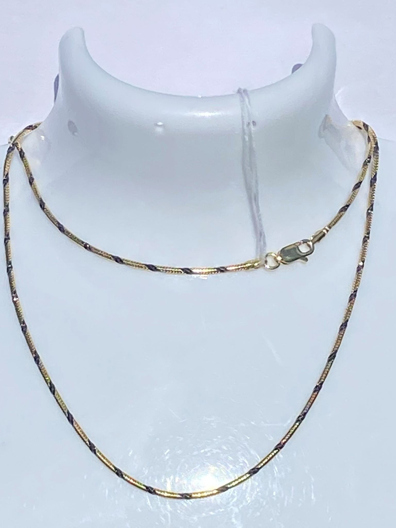 Снейк круглый с алмазными насечками  (серебряная цепочка с позолотой)