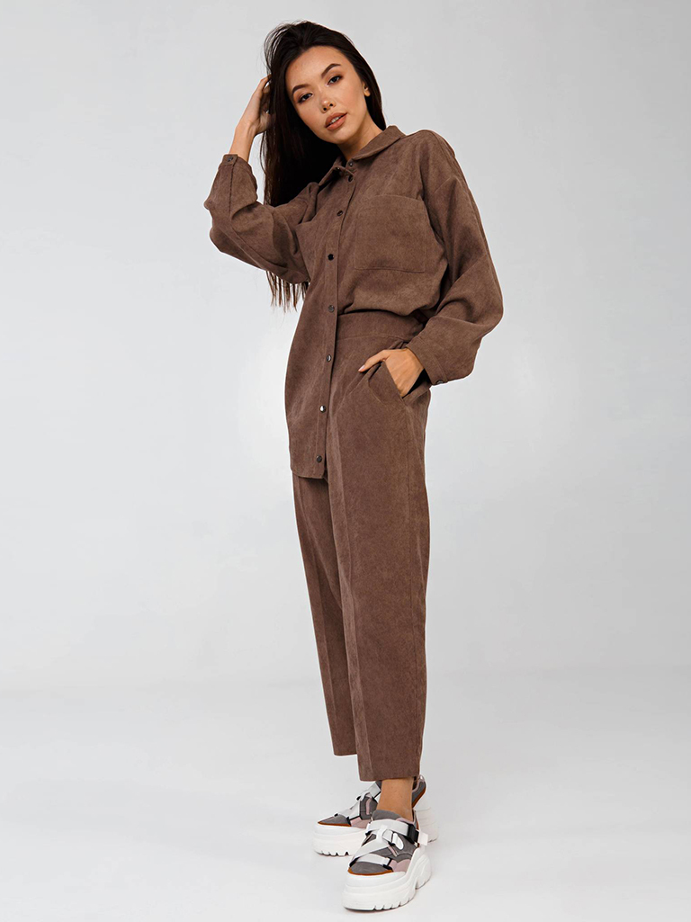 Вельветовая рубашка в рубчик коричневая YOS от украинского бренда Your Own Style